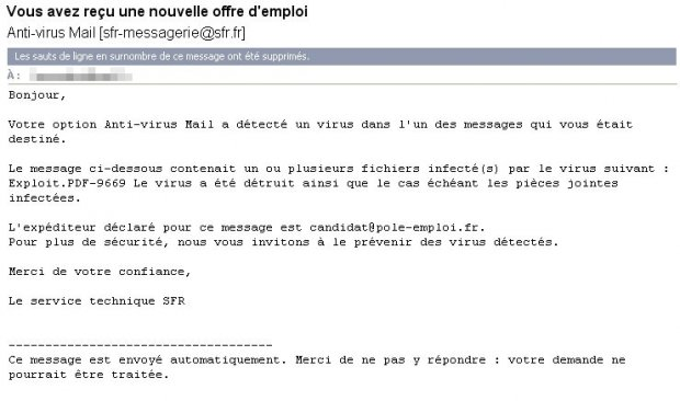 mail filtré par Anti-Virus Mail de SFR