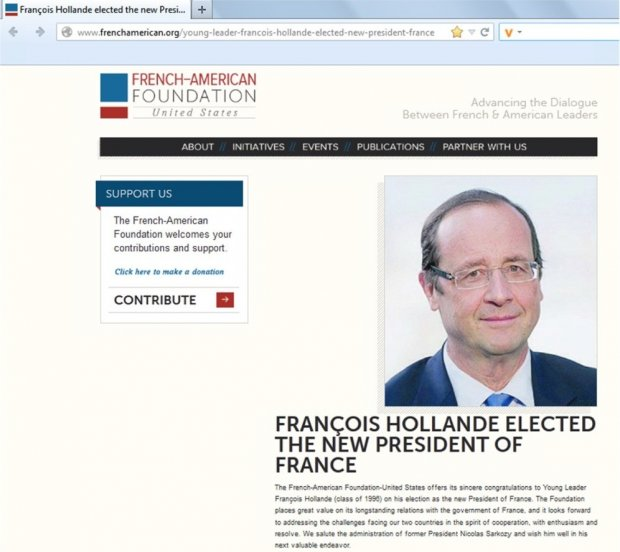 Fran&#231;ois Hollande - Capture d'&#233;cran frenchamerican.org le 20/07/12